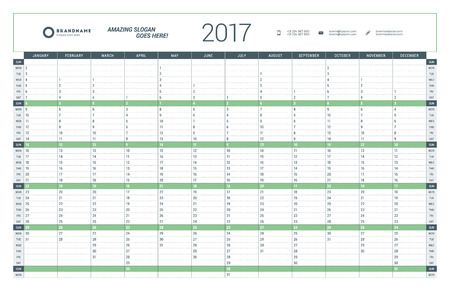 yearly: Yearly Calendar Planner Template for 2017 Year. Vector Design Print Template. Week Starts Sunday. Stationery Design