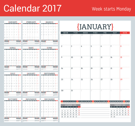 table sizes: Calendar Planner for 2017 Year. Stationery Design Template. Set of 12 Months. Week Starts Monday. Vector Illustration