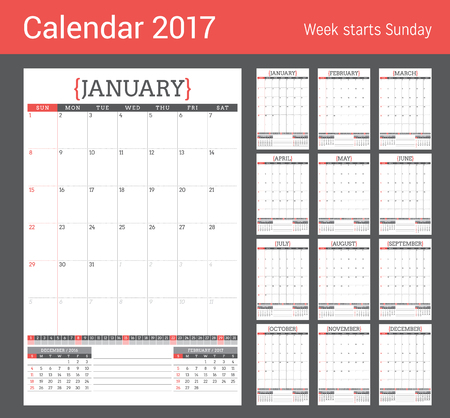 table sizes: Calendar Planner for 2017 Year. Stationery Design Template. Set of 12 Months. Week Starts Sunday. Vector Illustration