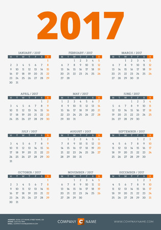 week: Calendar for 2017 Year. Vector Design Print Template with Company and Contact Information. Week Starts Monday