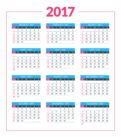 week: Calendar for 2017 year on white background. Vector design print template. Week starts Sunday. Stationery design