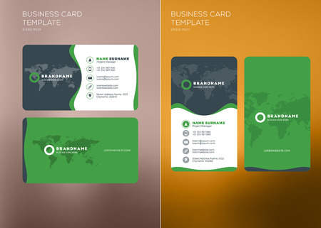 Corporate Business Card Print Template. Personal Visiting Card with Company Logo. Vertical and Horizontal Business Card Templates. Black and Green Color Theme. Vector Illustration. Business Card Mockup