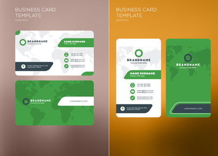 green card: Corporate Business Card Print Template. Personal Visiting Card with Company Logo. Vertical and Horizontal Business Card Templates. Black and Green Color Theme. Vector Illustration. Business Card Mockup