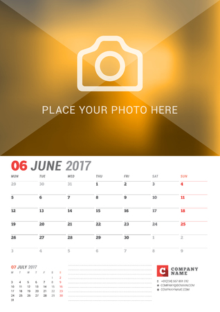 2 months: Wall Calendar Planner for 2017 Year. Vector Print Template with Place for Photo. Week Starts Monday. 2 Months on Page. June