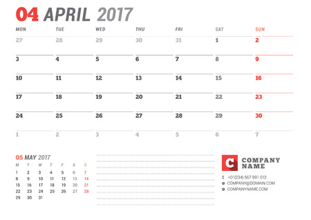 table sizes: Calendar Template for 2017 Year. April. Business Planner 2017 Template. Stationery Design. Week starts Monday. 2 Months on the Page. Vector Illustration