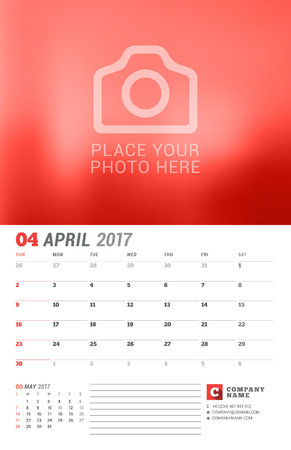 2 months: Wall Calendar Planner for 2017 Year. Vector Print Template with Place for Photo. Week Starts Sunday. 2 Months on Page. April