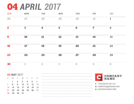 table sizes: Calendar Template for 2017 Year. April. Business Planner 2017 Template. Stationery Design. Week starts Sunday. 2 Months on the Page. Vector Illustration