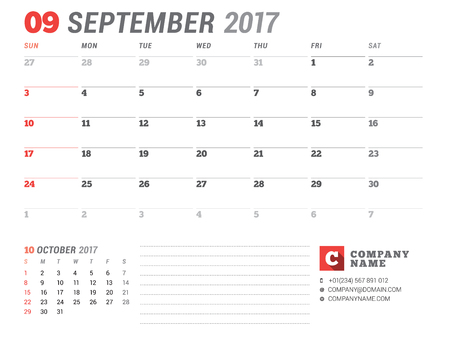 table sizes: Calendar Template for 2017 Year. September. Business Planner 2017 Template. Stationery Design. Week starts Sunday. 2 Months on the Page. Vector Illustration Illustration
