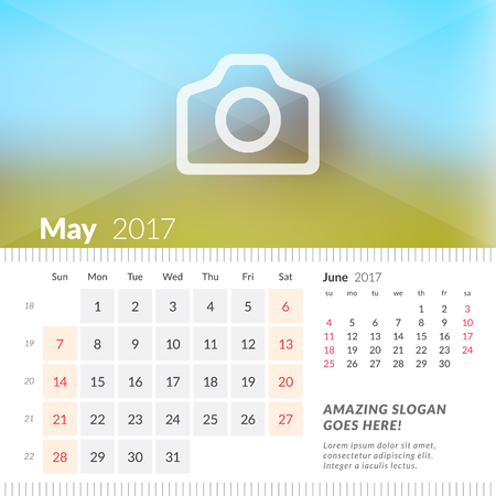 May 2017. Desk Calendar for 2017 Year. Week Starts Sunday. 2 Months on Page. Vector Design Print Template with Place for Photo