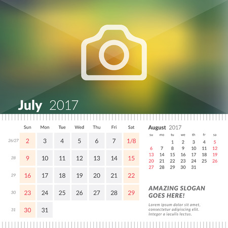 July 2017. Desk Calendar for 2017 Year. Week Starts Sunday. 2 Months on Page. Vector Design Print Template with Place for Photo Illustration
