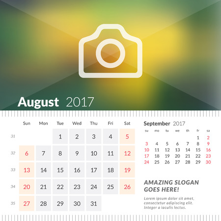 August 2017. Desk Calendar for 2017 Year. Week Starts Sunday. 2 Months on Page. Vector Design Print Template with Place for Photo