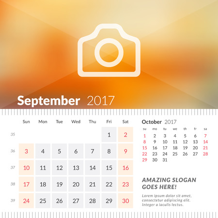 September 2017. Desk Calendar for 2017 Year. Week Starts Sunday. 2 Months on Page. Vector Design Print Template with Place for Photo