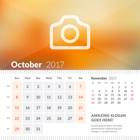 October 2017. Desk Calendar for 2017 Year. Week Starts Sunday. 2 Months on Page. Vector Design Print Template with Place for Photo Illustration