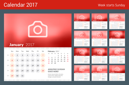 months of the year: Calendar for 2017 Year. Week Starts Sunday. 2 Months on Page. Set of 12 Months. Vector Design Print Template with Place for Photo Illustration