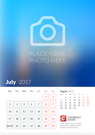 Wall Calendar for 2017 Year. Vector Print Template with Place for Photo. Week Starts Monday. 2 Months on Page. July