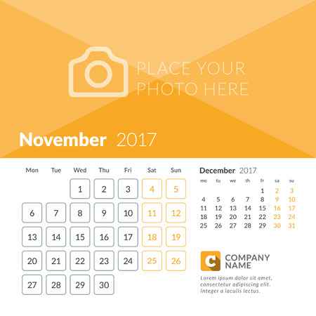 November 2017. Calendar for 2017 Year. Week Starts Monday. 2 Months on Page. Vector Design Print Template with Place for Photo and Company Logo