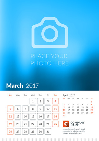 Wall Calendar for 2017 Year. Vector Print Template with Place for Photo. Week Starts Sunday. 2 Months on Page. March