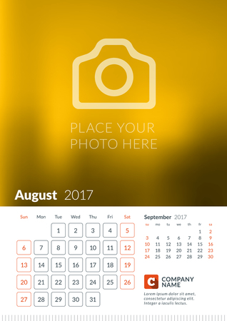 Wall Calendar for 2017 Year. Vector Print Template with Place for Photo. Week Starts Sunday. 2 Months on Page. August