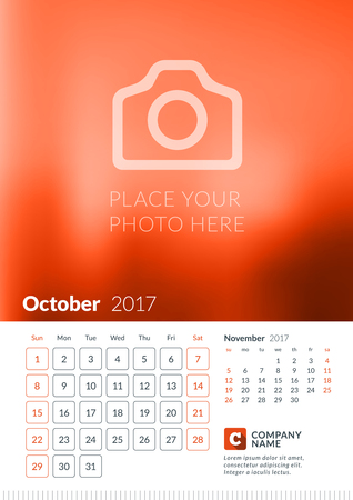 Wall Calendar for 2017 Year. Vector Print Template with Place for Photo. Week Starts Sunday. 2 Months on Page. October Illustration