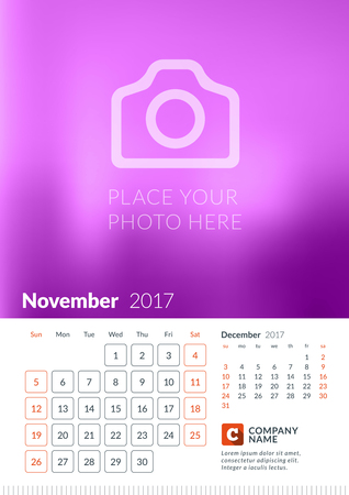 Wall Calendar for 2017 Year. Vector Print Template with Place for Photo. Week Starts Sunday. 2 Months on Page. November Illustration