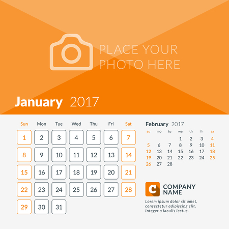 January 2017. Calendar for 2017 Year. Week Starts Sunday. 2 Months on Page. Vector Design Print Template with Place for Photo and Company Logo