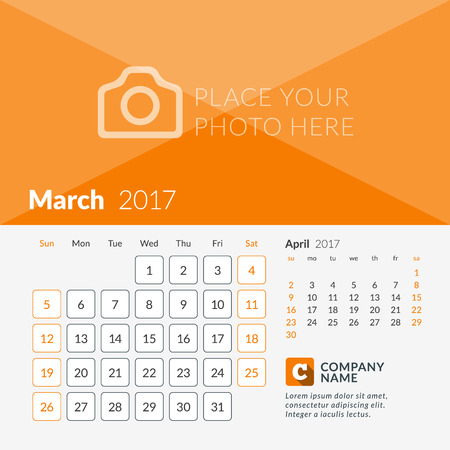 2 months: March 2017. Calendar for 2017 Year. Week Starts Sunday. 2 Months on Page. Vector Design Print Template with Place for Photo and Company Logo