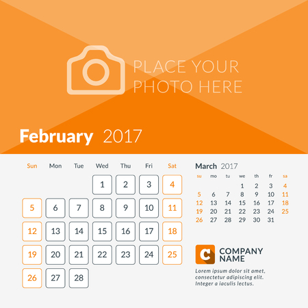 February 2017. Calendar for 2017 Year. Week Starts Sunday. 2 Months on Page. Vector Design Print Template with Place for Photo and Company Logo Illustration