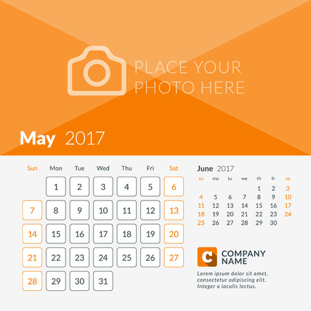 May 2017. Calendar for 2017 Year. Week Starts Sunday. 2 Months on Page. Vector Design Print Template with Place for Photo and Company Logo
