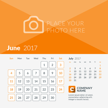 June 2017. Calendar for 2017 Year. Week Starts Sunday. 2 Months on Page. Vector Design Print Template with Place for Photo and Company Logo