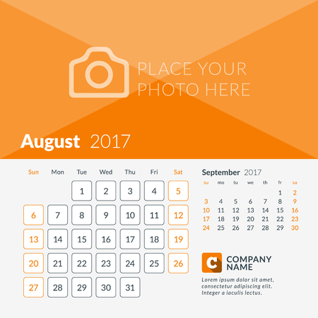 August 2017. Calendar for 2017 Year. Week Starts Sunday. 2 Months on Page. Vector Design Print Template with Place for Photo and Company Logo
