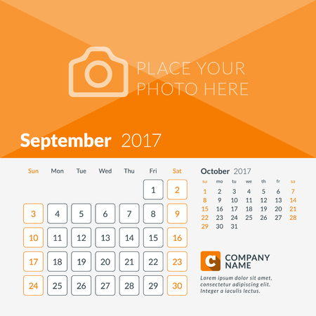 September 2017. Calendar for 2017 Year. Week Starts Sunday. 2 Months on Page. Vector Design Print Template with Place for Photo and Company Logo Illustration