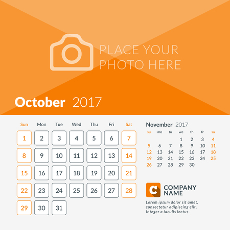 October 2017. Calendar for 2017 Year. Week Starts Sunday. 2 Months on Page. Vector Design Print Template with Place for Photo and Company Logo