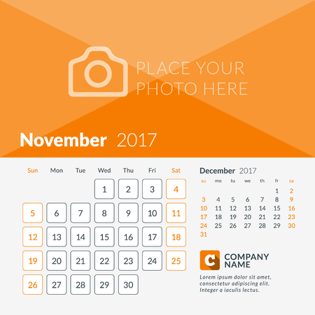 2 months: November 2017. Calendar for 2017 Year. Week Starts Sunday. 2 Months on Page. Vector Design Print Template with Place for Photo and Company Logo