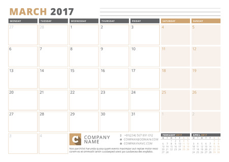 table sizes: Calendar Template for 2017 Year. March. Business Planner 2017 Template. Stationery Design. Week starts Monday. 3 Months on the Page. Vector Illustration