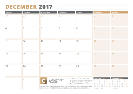 table sizes: Calendar Template for 2017 Year. December. Business Planner 2017 Template. Stationery Design. Week starts Monday. 3 Months on the Page. Vector Illustration