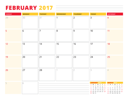 calendar planner template for 2017 year february stationery