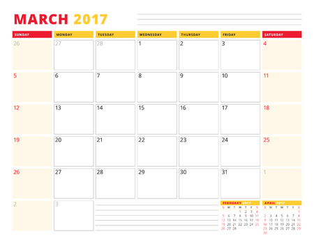 months of the year: Calendar Planner Template for 2017 Year. March. Stationery Design. Week starts Sunday. 3 Months on Page. Vector Illustration