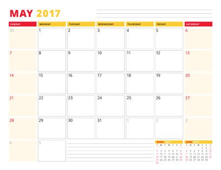 meses del año: Plantilla Calendario del planificador de 2017 años. Mayo. Diseño de papelería. La semana comienza el domingo. 3 Meses En la página. Ilustración del vector Vectores