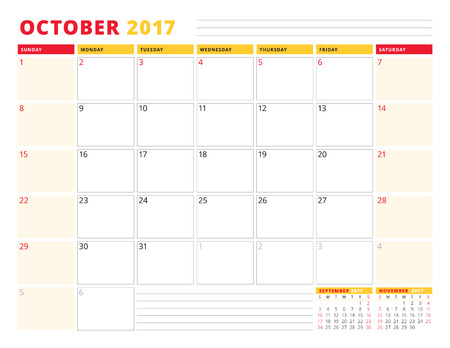 meses del año: Calendar Planner Template for 2017 Year. October. Stationery Design. Week starts Sunday. 3 Months on Page. Vector Illustration Vectores