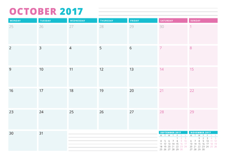 table sizes: Calendar Planner Template for 2017 Year. October. Business Planner Template. Stationery Design. Week starts Monday. Vector Illustration