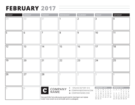 table sizes: February 2017. Calendar Planner for 2017 Year. Week Starts Sunday. Black and White Color Theme. Stationery Design