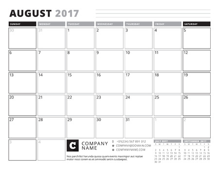 table sizes: August 2017. Calendar Planner for 2017 Year. Week Starts Sunday. Black and White Color Theme. Stationery Design Illustration