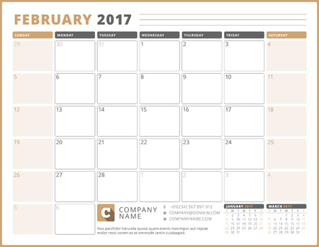 table sizes: Calendar Template for 2017 Year. February. Business Planner 2017 Template. Stationery Design. Week starts Sunday. 3 Months on the Page. Vector Illustration
