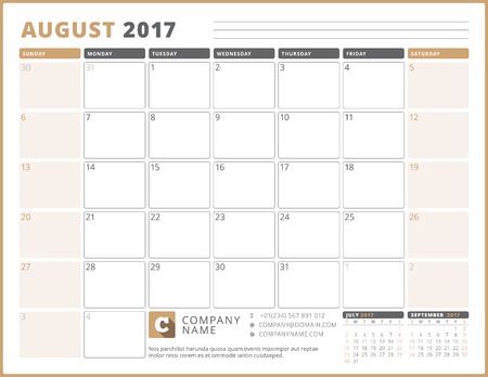 table sizes: Calendar Template for 2017 Year. August. Business Planner 2017 Template. Stationery Design. Week starts Sunday. 3 Months on the Page. Vector Illustration Illustration