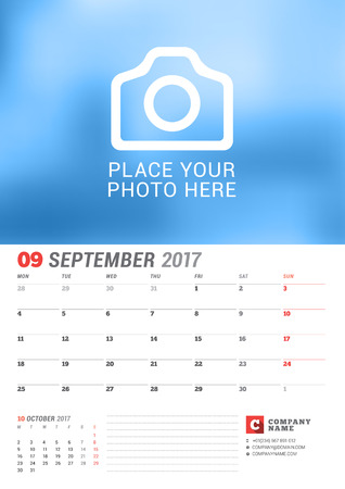 Wall Calendar Planner for 2017 Year. Vector Print Template with Place for Photo. Week Starts Monday. 2 Months on Page. September Illustration
