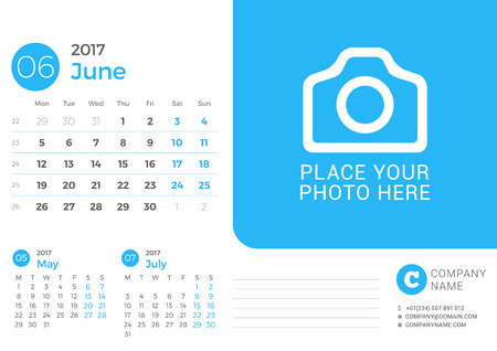 next day: Desk Calendar for 2017 Year. Vector Print Template with Place for Photo. June 2017. Week Starts Monday. 3 Months on Page