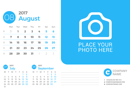 next day: Desk Calendar for 2017 Year. Vector Print Template with Place for Photo. August 2017. Week Starts Monday. 3 Months on Page
