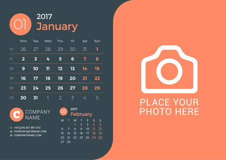 next day: Calendar for 2017 Year. Vector Print Template with Place for Photo on Dark Background. January 2017. Week Starts Sunday. 3 Months on Page