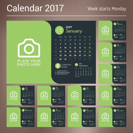 meses del año: Calendar for 2017 Year. Vector Print Template with Place for Photo on Dark Background. Set of 12 Months. Week Starts Sunday. 3 Months on Page