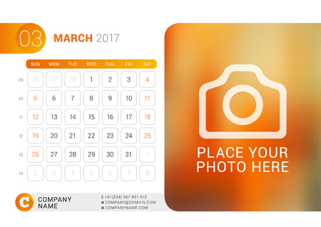 Desk Calendar for 2017 Year. March. Vector Design Print Template with Place for Photo, Logo and Contact Information. Week Starts on Sunday. Calendar Grid with Week Numbers